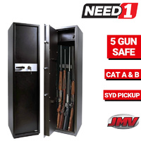 5 Gun Safe Firearm Rifle Storage Lock box Steel Cabinet Heavy Duty Locker