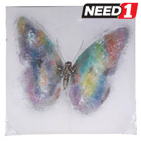 Butterfly Wall Canvas 1000mm x 1000mm.