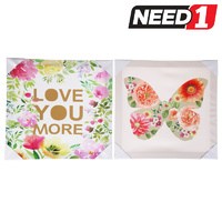 "Set of 2  Canvas Wall Hangings, ""Butterfly & Love You More"" 400 x 400mm."