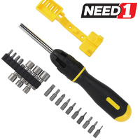 Ratcheting Screwdriver + 20 Bits & Nut Drivers