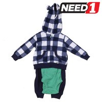 3pc Boys Clothing Set: Hooded Jacket, Onesie & Trackpants