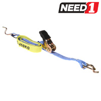 Ratchet Tie Down Assembly - 25mm x 4m - Hook & Keeper - L/C 450Kg - Bulk Packs of 2 & 4 Available