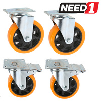 4 x Swivel Castor Wheels  | PU Wheels | 2 with Brakes