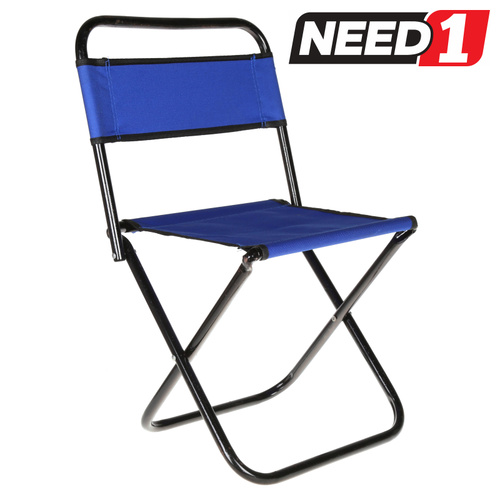 Mini Folding Camp Chair - Metal Frame - Canvass Seat & Back