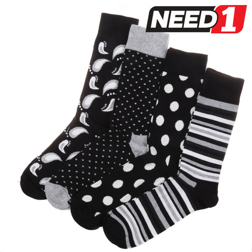 Pack of 4 x Men's Socks - Size: 41-46 - 85% Cotton